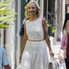 Anne Heche Wearing White Eyelet Dress