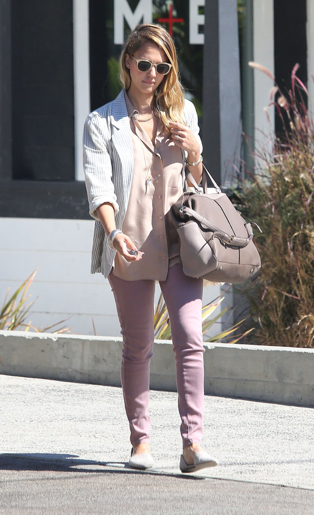 Jessica Alba headed towards a store.