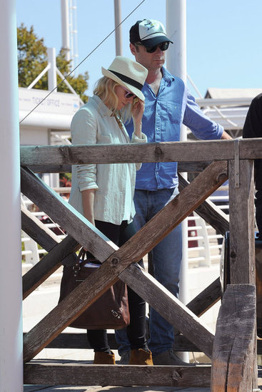 Naomi Watts and Liev Schreiber chatted on a dock.