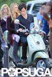 Blake Lively and Penn Badgley hopped onto the Vespa.