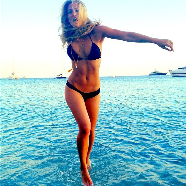 Bar Refaeli jumped around in her bikini.  Source: Instagram User barrefaeli