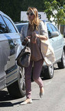 Jessica Alba arrived at her car after running errands.