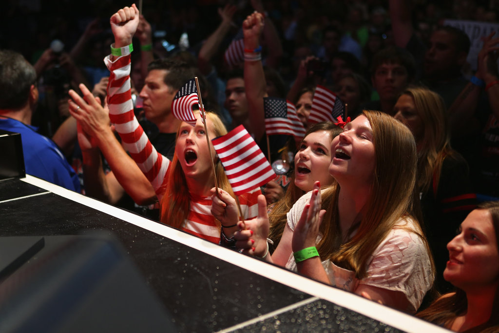 Girls cheered inside the convention.