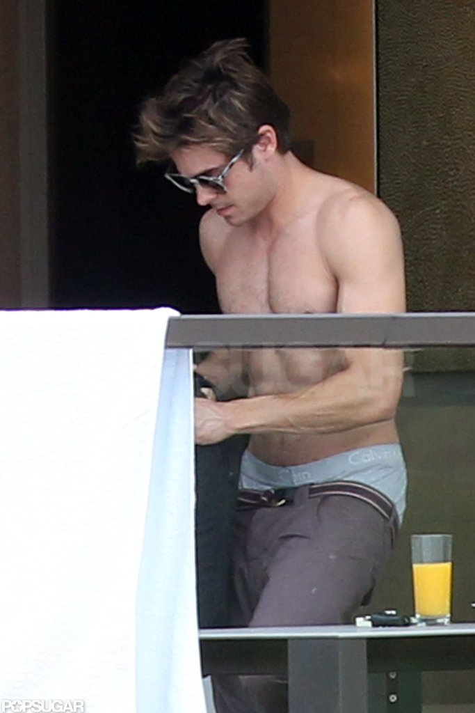 Zac Efron was shirtless at his Sydney hotel in April 2012.