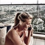 Bar Refaeli took a phone call. Source: Instagram user barrefaeli