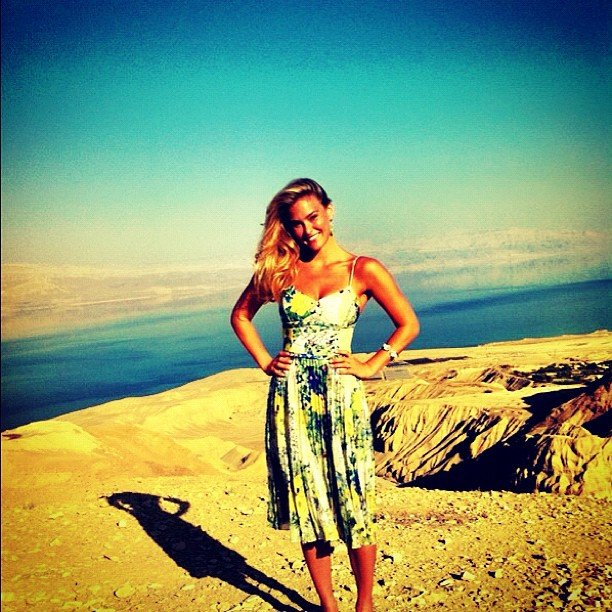 Bar Refaeli shared a photo from high above the Dead Sea.  Source: Instagram user barrefaeli