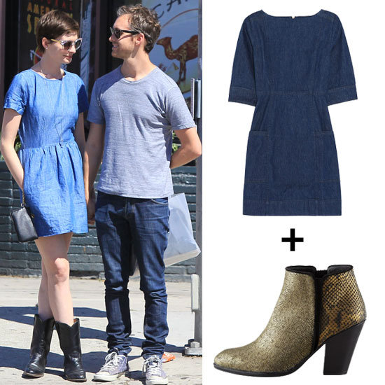Anne Hathaway Inspires Our Search For the Perfect Denim Dress + Boots