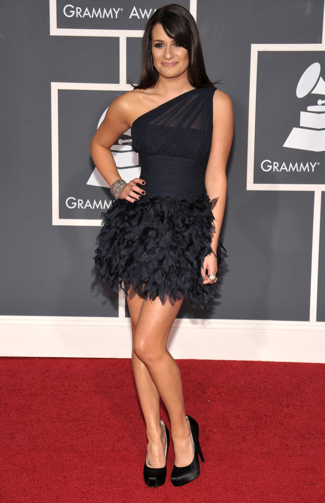 Lea wore a black feathered Romona Keveza mini for the Grammys in 2010.