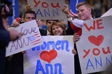 Fans held signs in support of Ann Romney.