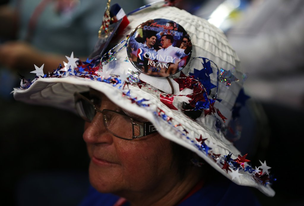 This lady decked out her hat in patriotic decorations.