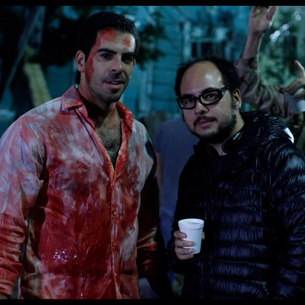 Eli Roth showed off this snap of his bloodied-up self on the set of Aftershock. Source: Instagram user realeliroth