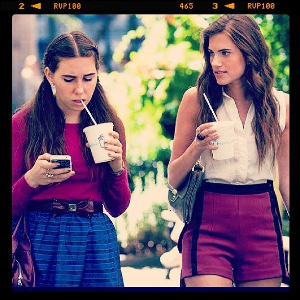 Zosia Mamet and Allison Williams filmed a scene for season two of Girls in NYC. Source: Instagram user girlshbo