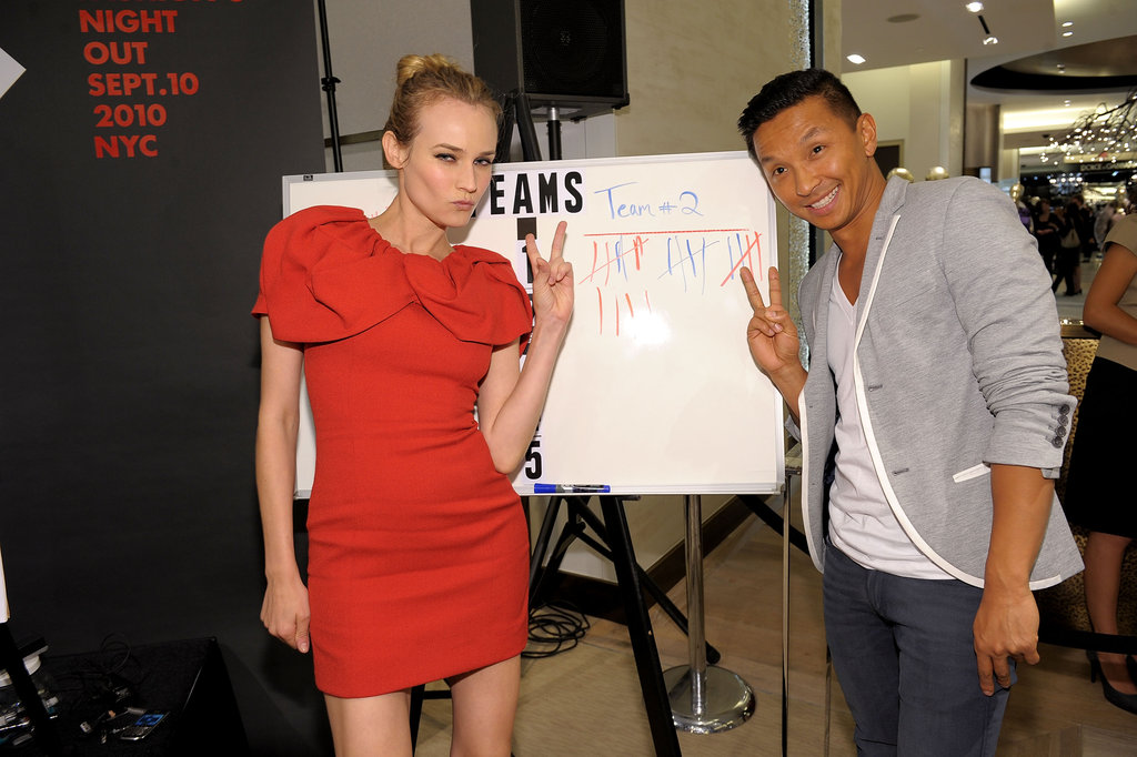 Diane Kruger flashed a peace sign while hosting an event with her longtime friend, designer Prabel Gurung, in 2010.