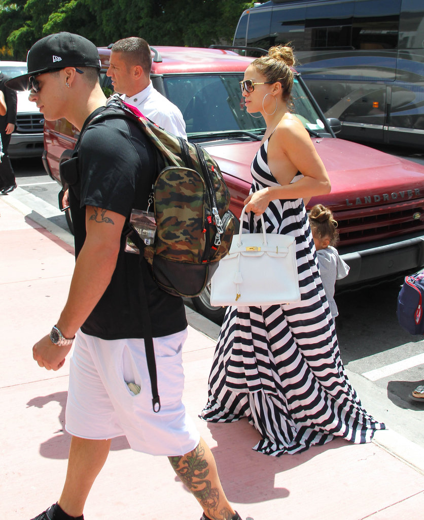 Jennifer Lopez wore a striped maxi dress in Miami.