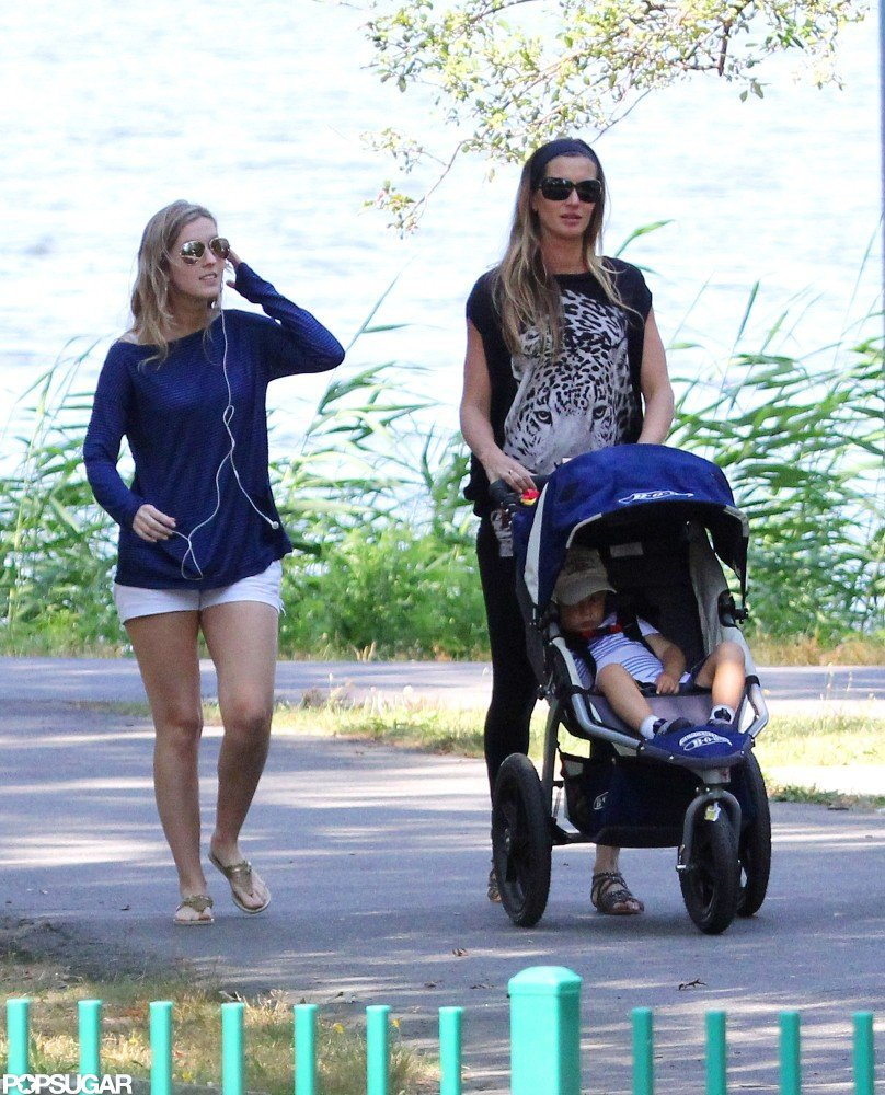 Gisele Bundchen pushed Benjamin to the park in a stroller.
