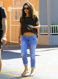Mila Kunis showed her tummy in a cropped shirt on the way to a nail salon in LA.