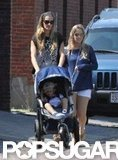 Gisele Bundchen took Bejamin to the park in Boston in his stroller.