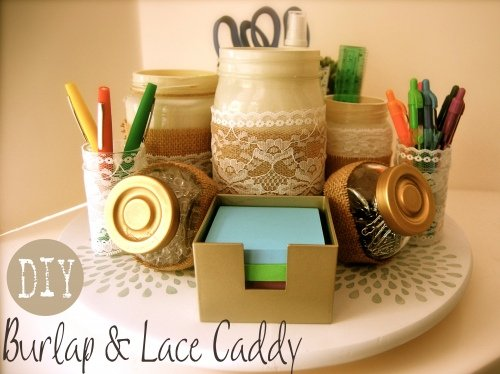 Burlap &amp; Lace Caddy
