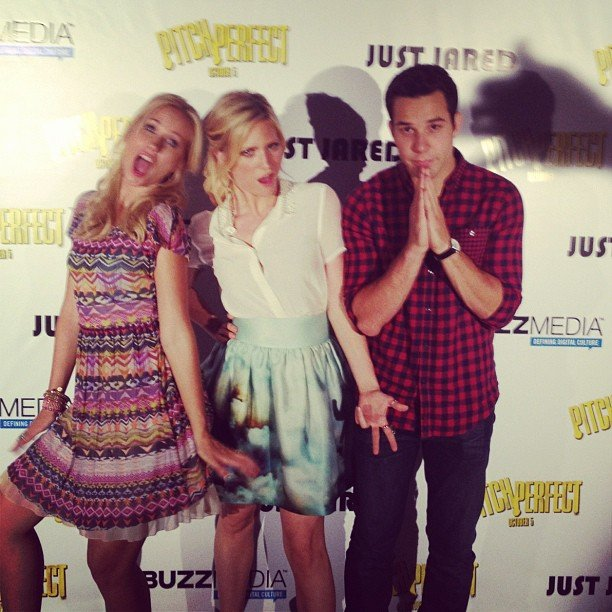 Brittany Snow posed with her Pitch Perfect costars Anna Camp and Skylar Astin at a screening of the movie. Source: Instagram user brittsnowhuh