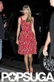 Taylor Swift wore a red dress in NYC.