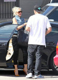 Gwen Stefani arrived at a radio station in Culver City.