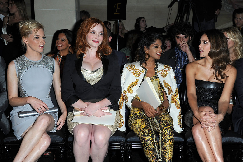 Elizabeth Banks, Christina Hendricks, M.I.A. and Jessica Alba were together in July 2012 for the Paris Versace Haute Couture show.