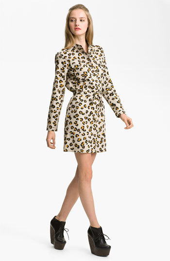 The perfect dress for a crisp Fall workday: just add tights and wedge booties. A.P.C. Leopard Print Gabardine Shirtdress ($340)