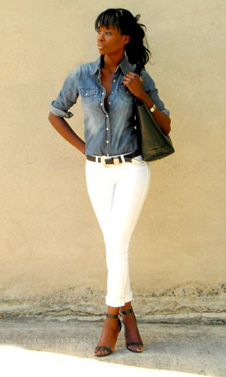 Denim shirt and white jeans street style popsugar fashion for White pants denim shirt