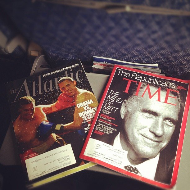 Reading material for the flight to Tampa included political mags.