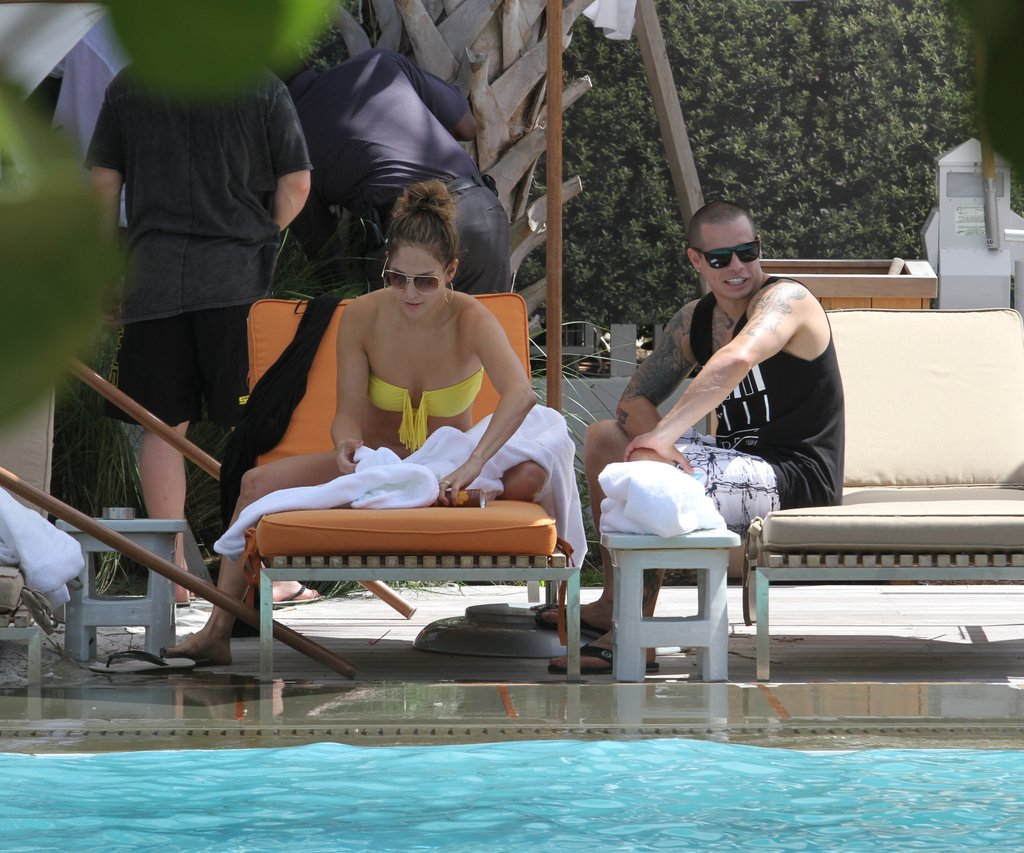 J Lo Relaxes in a Bright Bikini With Casper, Emme and Max