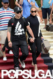 Jennifer Lopez and Casper Smart left their Miami Beach hotel.
