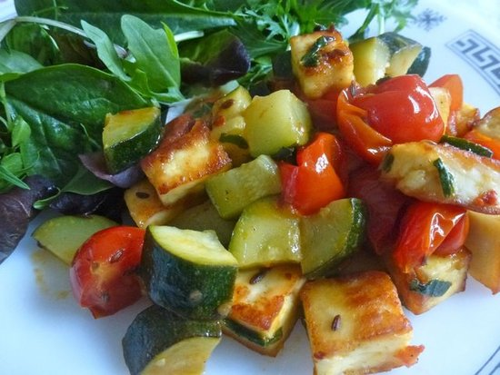 Courgette, Paneer & Cherry Tomatoes Stir-Fry by ZestyBaking