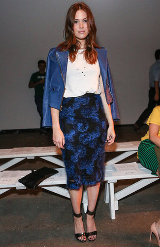 Mandy Moore looked like a vision in cool shades of blue at Billy Reid — we love the juxtaposition of cobalt blue leather against a darker floral print.