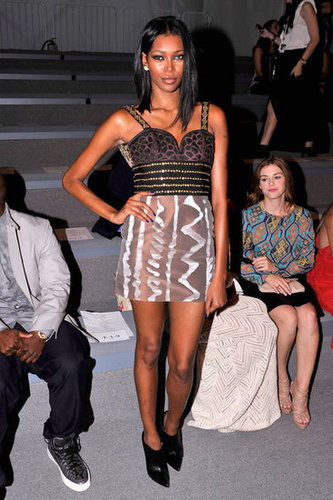 Tribal-inspired, with a dash of exotic animal print, too — Jessica White rocked a sweetheart minidress at the Mara Hoffman show.