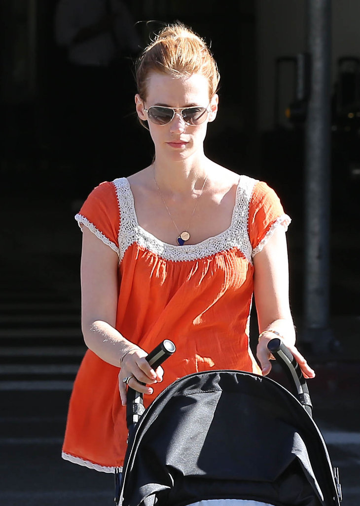 January Jones sported sunglasses at LAX.