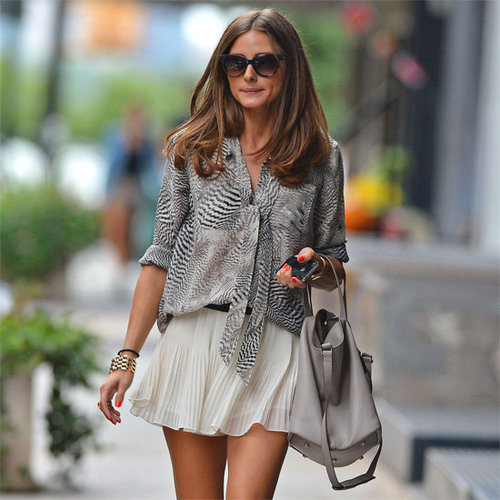 Olivia Palermo Wearing Pleated Skirt