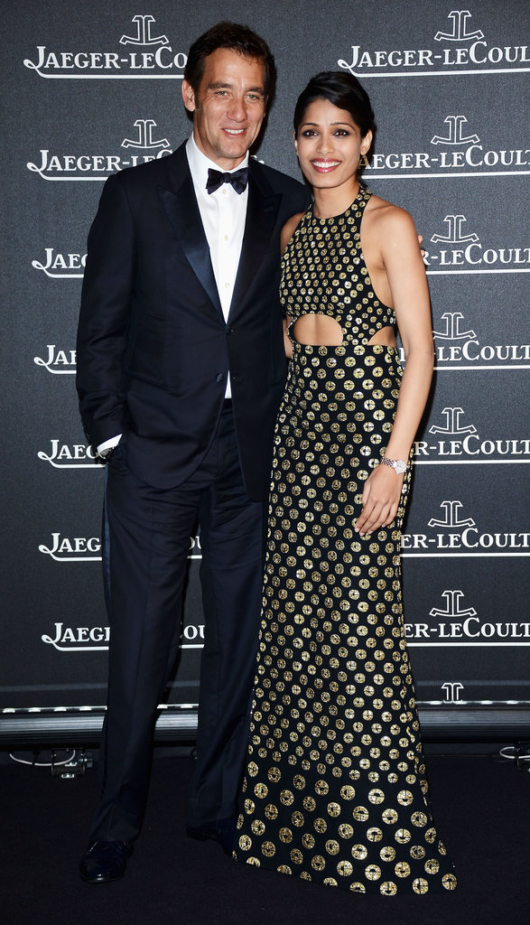 Freida Pinto posed with Clive Owen at the Jaeger-LeCoultre party in Venice.