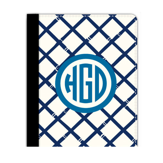 With initials and a navy blue bamboo pattern, the iPad Folio Case ($48) keeps your gear protected in style.