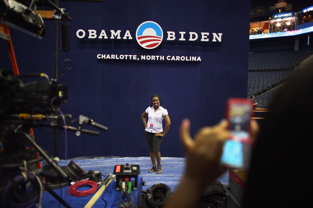 A woman posed inside the arena where the DNC is taking place.