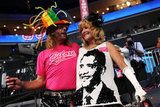 Obama sparkled on this lady's sequined shirt.