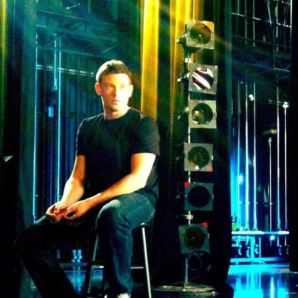 Lea Michele snapped this pic of Cory Monteith on the set of Glee. Source: Instagram user msleamichele