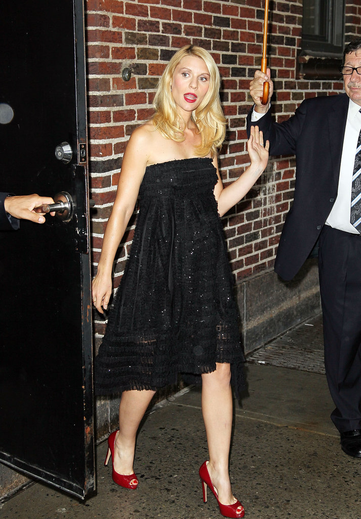 Claire Danes wore a black dress and red heels to Late Show With David Letterman.