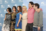 Selena Gomez, Vanessa Hudgens, Rachel Korine, Ashley Benson, James Franco, and Harmony Korine linked up at the Spring Breakers photocall at the Venice Film Festival.