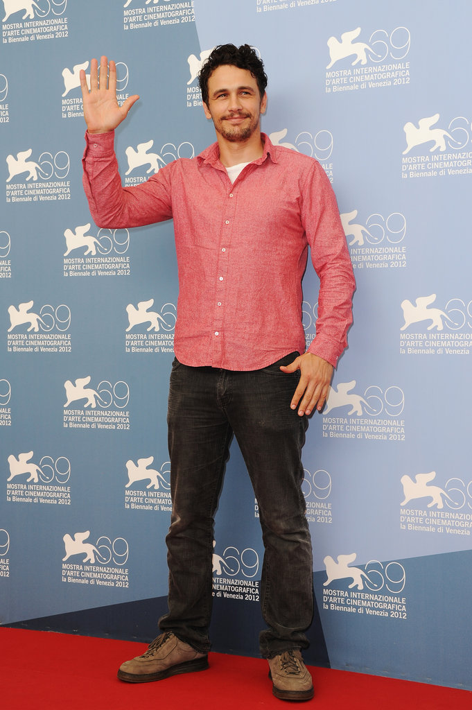 James Franco gave a wave at the Spring Breakers photocall at the Venice Film Festival.