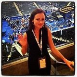 Alexis Bledel gave a wave at the Democratic National Convention. Source: Instagram user tressugar