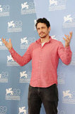 James Franco wore a pink shirt for the Spring Breakers photocall at the Venice Film Festival.
