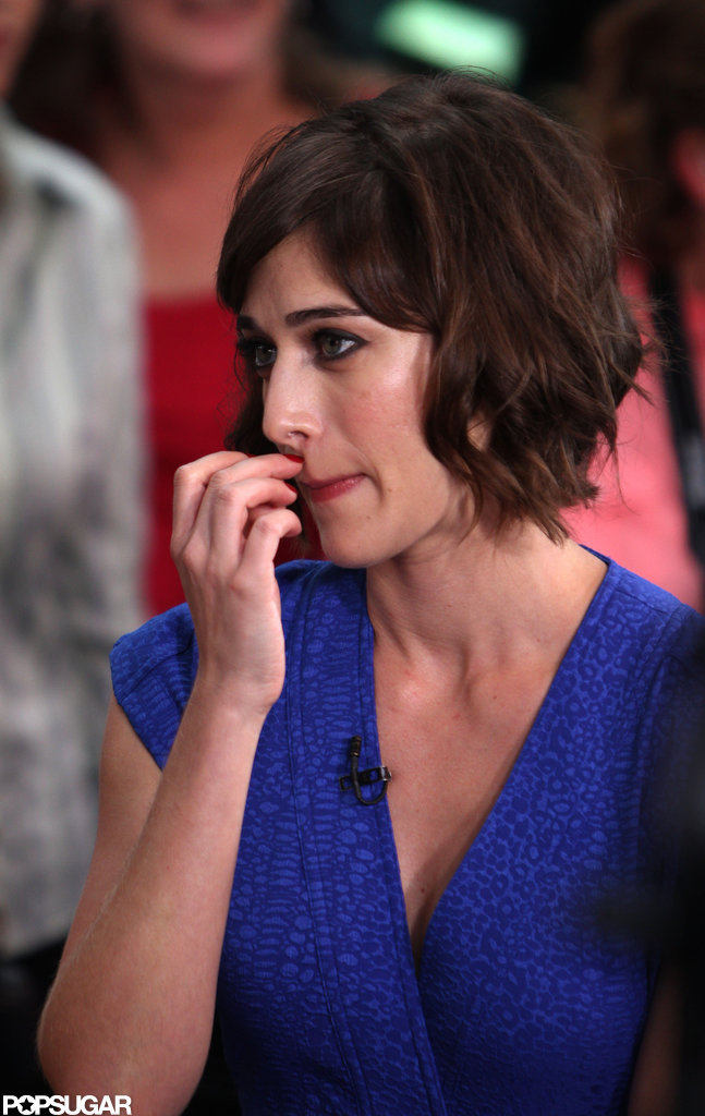 Lizzy Caplan wore a blue dress to talk Bachelorette in NYC.