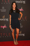 Rebecca Minkoff showed off her stems in a black mini and ankle-straps; then finished with statement jewels for the Style Awards.