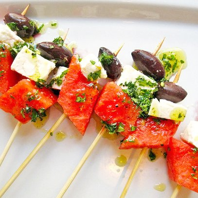 Watermelon and Feta Skewer Recipe 2011-08-04 13:25:11