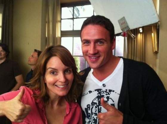 Ryan Lochte filmed a guest spot for 30 Rock. Source: Twitter user jackburditt